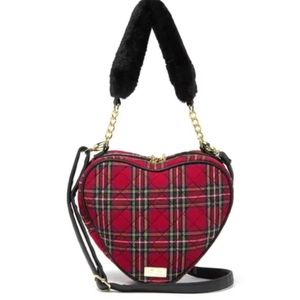Betsey Johnson quilted plaid heart bag